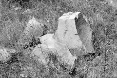 Basalt Rocks, volcanic rock outcrops located in the village Racos, Romania. Racos is a village in Brasov county, Transylvania, Romania near one active and three royalty free stock image