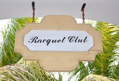 Racquet club sign Stock Photos