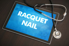 Racquet nail (cutaneous disease) diagnosis medical concept on ta. Blet screen with stethoscope Stock Image