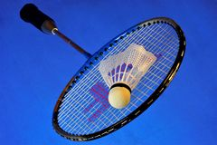 Racquet and shuttlecock for badminton. Badminton is spectacular and affordable, is an Olympic sport. Playing badminton allows you royalty free stock photos