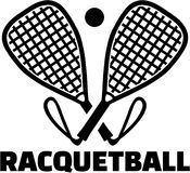 Racquetball bats with ball Royalty Free Stock Photo