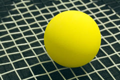 Racquetball on racket strings. Yellow frontenis ball laying on r. Acket strings, over black background Stock Images