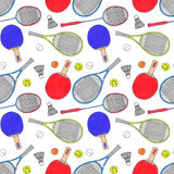 Racquets, balls and shuttlecocks.Seamless Royalty Free Stock Photos