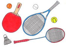 Racquets and balls, sport set. Hand-drawn Royalty Free Stock Image