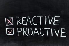 Réactif ou proactif Image stock
