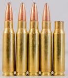 Rad av ammunitionar med en avfyrad runda Royaltyfri Bild