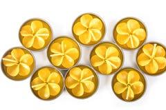 Rad av aromatiska stearinljus Royaltyfria Bilder