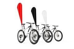 Rad av bergcyklar med röda svartvita tomma flaggor för banerbefordranfjäder framförande 3d stock illustrationer
