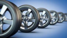 Rad av bilhjul stock illustrationer