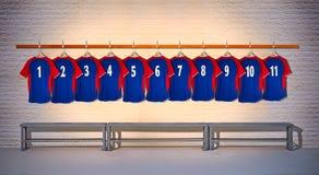 Rad av blåa fotbollskjortor 1-11 Royaltyfria Bilder