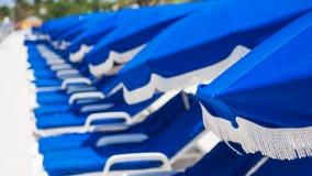 Rad av blåa strandparaplyer Royaltyfria Bilder