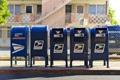Rad av brevlådor royaltyfri fotografi