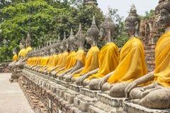 Rad av Buddhaställning på templet av Wat Yai Chai Mongkol i Ayutthaya nära Bangkok, Thailand Royaltyfria Foton