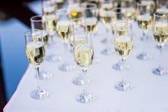 Rad av champagneexponeringsglas Fotografering för Bildbyråer