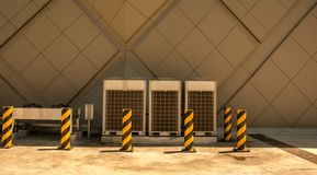 Rad av den kommersiella HVAC-luftkonditioneringsapparaten utanför kondensator royaltyfria foton