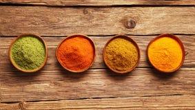Rad av färgrika kryddor i bunkar Royaltyfri Foto
