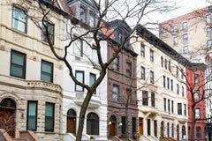 Rad av gamla byggnader i den övrevästra sidan, New York City Royaltyfri Foto