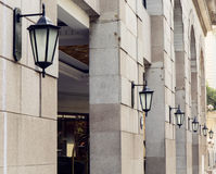 Rad av gammalt väggljus med klassisk stil, tappningvägglampa, dekorativ vägglampa för gammalt mode fotografering för bildbyråer