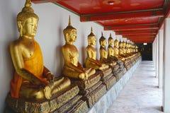 Rad av guld- Buddhastatyer i Wat Pho Tempel av vila Royaltyfria Bilder