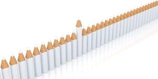 Rad av identiska blyertspennor Royaltyfri Fotografi