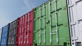 Rad av mångfärgade lastbehållare mot blå himmel sömlöst loopable gem för docka 4K, ProRes royaltyfri illustrationer