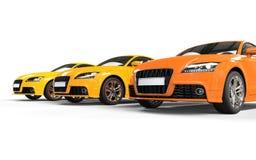 Rad av moderna bilar - apelsin Royaltyfri Bild