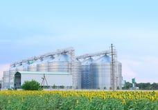 Rad av moderna spannmålsmagasin för att lagra sädes- korn arkivfoto
