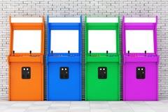 Rad av Multicolour spela Arcade Machines med den tomma skärmen för vektor illustrationer