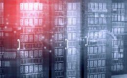 Rad av nätverksserveror i datacenter Royaltyfri Bild