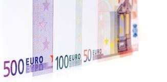 Rad av olika euroanmärkningar Royaltyfri Fotografi