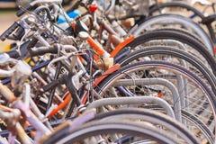 Rad av parkerade cyklar, Amsterdam, Nederländerna Royaltyfri Fotografi