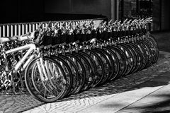Rad av parkerade cyklar på marknadsgatan Royaltyfri Foto