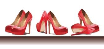 Rad av rött kvinnligt skodon vektor royaltyfri illustrationer