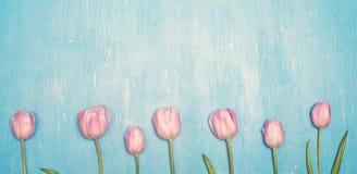 Rad av rosa tulpan över retro bakgrund för grungeblått Fotografering för Bildbyråer