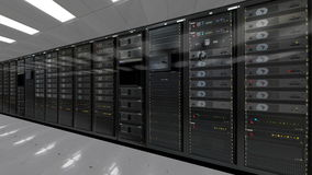 Rad av rum för datacenter för nätverksserveror stock video