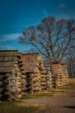 Rad av soldatkabiner på dalsmedjan Pennsylvania Arkivbild