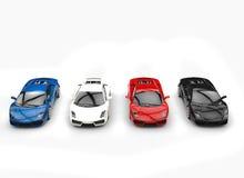 Rad av Supercars Arkivfoton