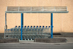 Rad av supermarkettrollyes Royaltyfria Foton