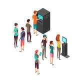 Rad av väntande folk på den atm-betalningmaskinen och terminalen isometriskt vektorbegrepp för bankrörelsen 3d och finans Royaltyfri Fotografi