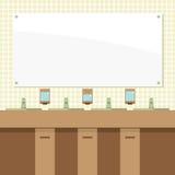 Rad av wc med speglar stock illustrationer