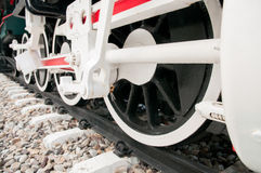 Rad der alten Dampflokomotive Stockbilder