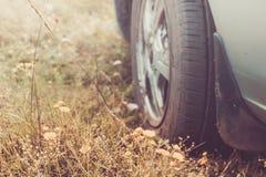 Rad der Autonahaufnahme gegen Hintergrund des Wiesengrases Reise Lizenzfreies Stockfoto