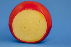 Rad des frischen Gouda-K?ses mit einer roten Rinde auf einem blauen monophonischen Hintergrund stockfotos