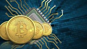rad för bitcoins 3d Royaltyfria Bilder