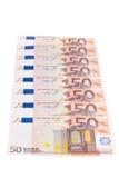 Rad för euro femtio fotografering för bildbyråer