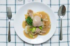 Rad Na,著名泰国中国式宽米线盘用鲜美嫩猪肉用浓小汤调味汁 与匙子的平的位置和为 免版税库存照片