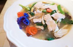 Rad Na, Wide noodles in gravy mixes vegetable, chinese and thai Stock Image