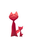 Rad paper cat. Red paper cat in white background Stock Photography