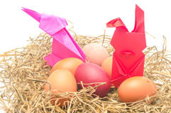 Rad rabbit and egg in next ,Easter. Day Stock Photography
