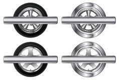 Rad-Reifen und Legierung Rim Designs With Banner lizenzfreie abbildung